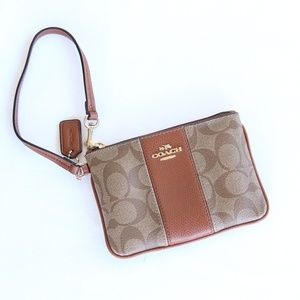Coach Canvas PVC Leather Logo Tan Wristlet Wallet